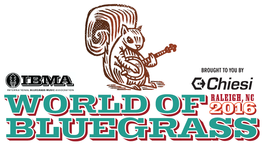 IBMA - International Bluegrass Music Association logo to the left of an illustration of a squirrel holding a banjo; to the right of the squirrel, Brought to You by Chiesi; below IBMA and Chiesi logos: World of Bluegrass, Raleigh, NC 2016