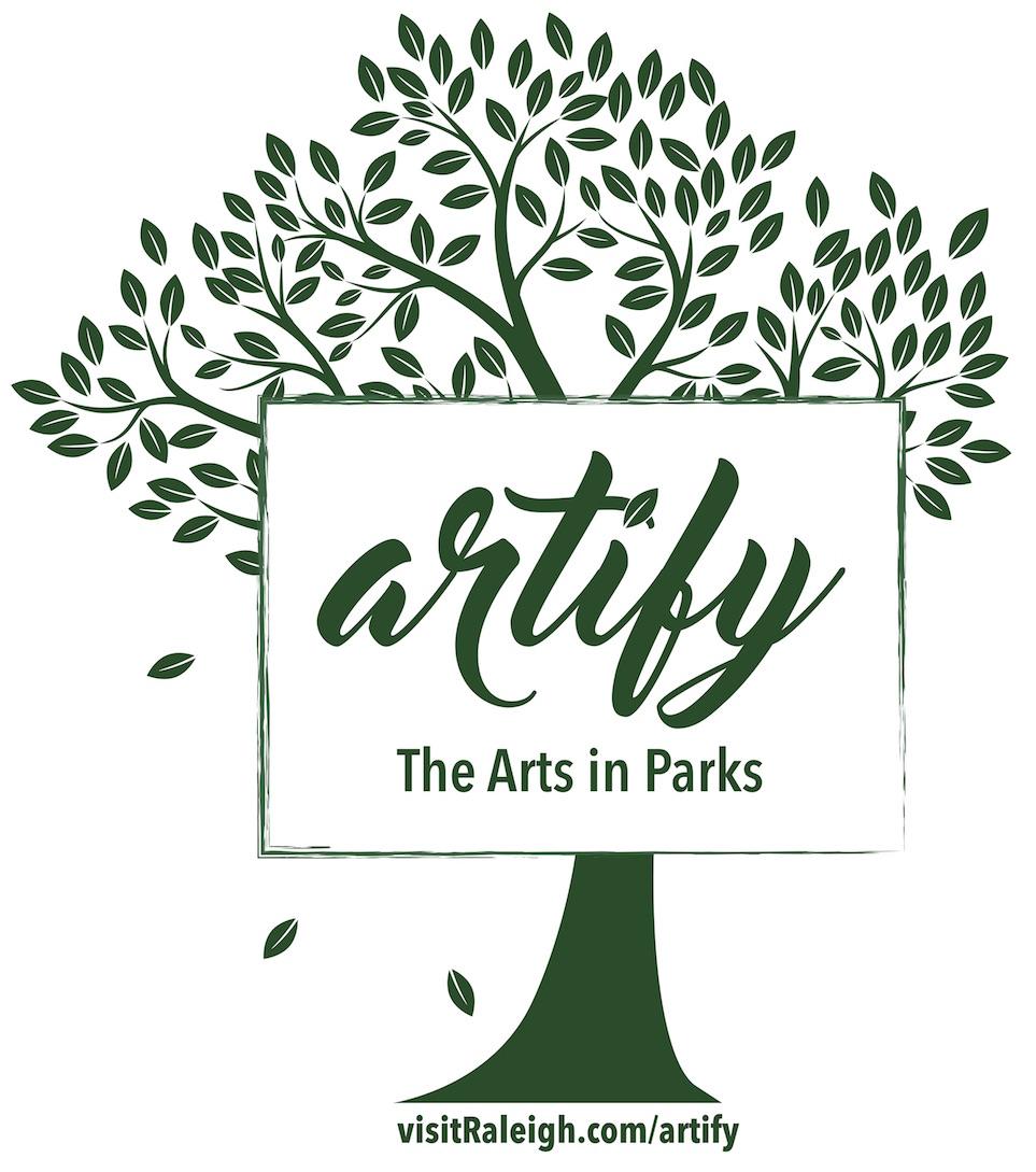 An illustration of a tree with a few leaves falling off the left side, and a rectangle in the center with the words Artify: The Arts in Parks