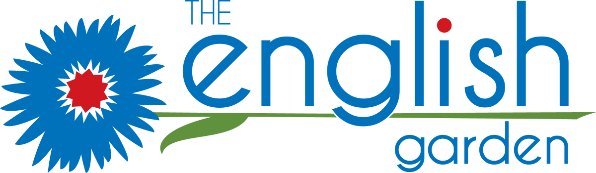 """The English Garden logo - an illustration of a flower sideways, with the flower on the left and the stem going to the left between the words """"english"""" and """"garden"""" in the logo."""
