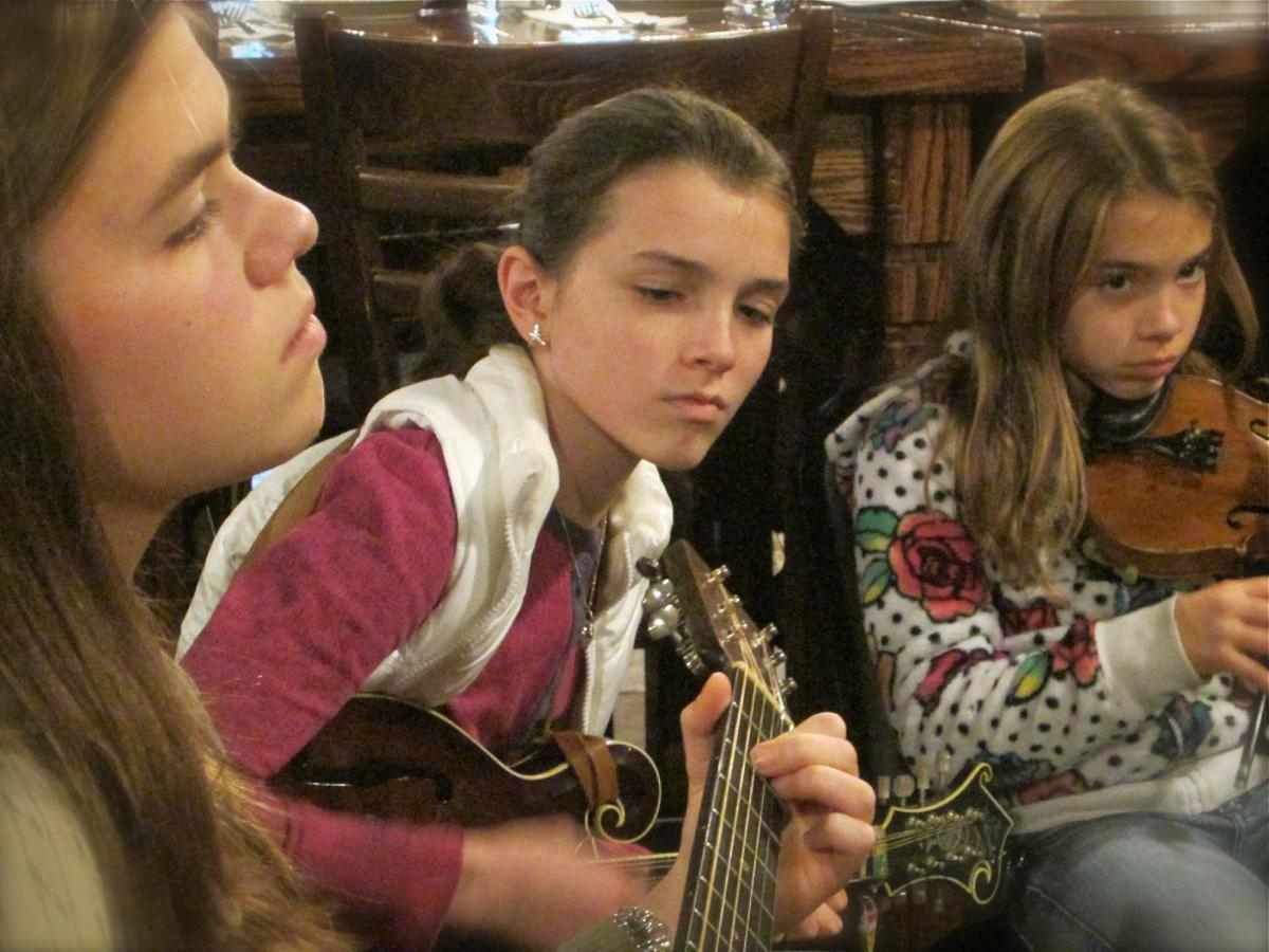 Elise, Olivia, and Sofia are 14, 12, and 10 - some of the youngest PineCone Irish Session musicians