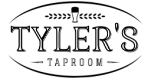 Tyler's Taproom logo - a curved line above and below the two-line text Tyler's Taproom