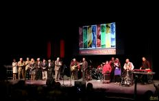 2016 NC Heritage Award honorees on stage together at the end of the most recent NC Heritage Awards Ceremony in Fletcher Theater.