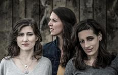 The three members of The Wailin' Jennys all have long brown hair, worn down. Two stand side by side in the front, each wearing a top in a different shade of gray and facing the viewer. The woman on the left in the lighter gray top wears 2 silver necklaces. Behind and between them, the third woman is looking over her right shoulder. She wears a jean jacket over a beige top.