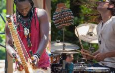 Left: Diali Cissokho outdoors, playing kora, a 21-string West African instrument; he is looking down at the instrument in front of him as he plays. Right: Austin McCall playing a drum set outdoors while looking up; his long, curly hair is loose and flowing.