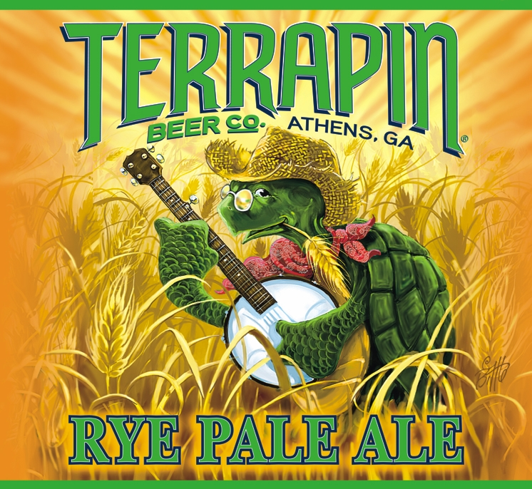 """Terrapin Beer Co., Athens, GA; Rye Pale Ale; logo illustration: a turtle wearing a straw hat and a bandanna around his neck, standing in an illustrated wheat field, holding a banjo """"left-handed"""""""