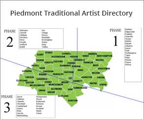 Piedmont map - 3 phases of Piedmont counties  for Piedmont Artists Directory Project